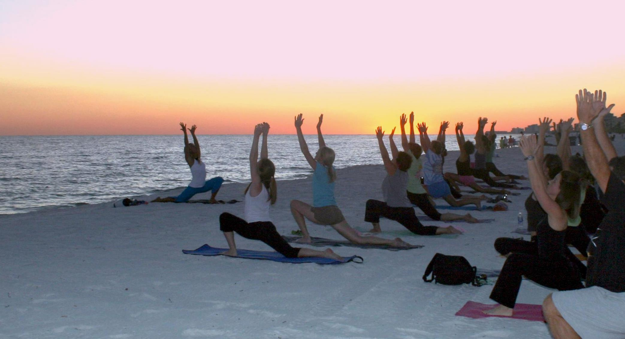 Nothing Like Yoga On The Beach With Sun Setting Over Gulf